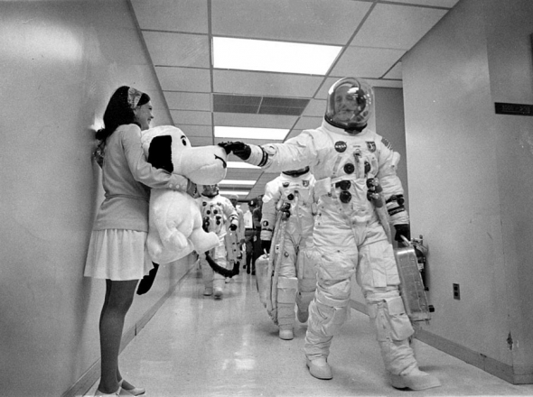 Apollo 10 mission commander Thomas P. Stafford pats the nose of Snoopy, the mission's mascot on the way to Launch Complex 39B.